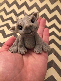 Little Baby Gargoyle Polymer Clay Sculpture by artbysarahprice