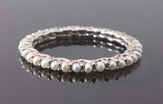 1ct 18k White Gold Wedding Band jewelry for women pearl eternity band 2mm Cz Sz