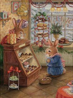 Illustration by Susan Wheeler Susan Wheeler, Christmas Art, Vintage Christmas, Christmas Scones, Christmas Bunny, Christmas Goodies, Christmas Feeling, Christmas Treats, Lapin Art