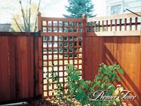 privacy fencing with square lattice panel. Wood Privacy Fence, Fence Gate, Fencing, Pool House Interiors, Square Lattice, Fence Design, Minneapolis, Outdoor Structures, Garden
