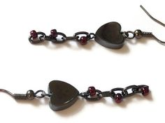 Hematite Heart Earrings Burgundy Evening Red by Squintessential, £4.00
