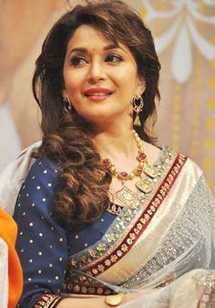 Madhuri Dixit Bollywood Actors, Bollywood Celebrities, Madhuri Dixit Hot, Sari Design, Elegant Saree, Indian Celebrities, Saree Blouse Designs, Indian Designer Wear, India Beauty