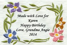 Flower Frame Quilt Label w/custom text Made by EmbroideryServices