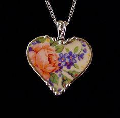 broken china | Broken china jewelry heart pendant necklace antique Rosalynde chintz ...
