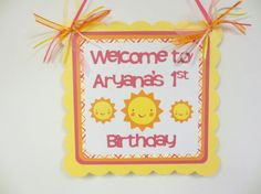 Sunshine Sun Door Welcome Sign Banner Birthday Party Shower Pink Yellow Orange on Etsy, $12.00