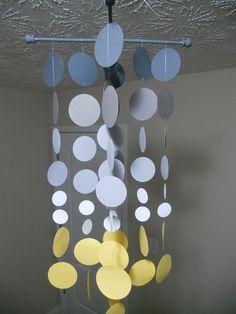 """Handmade """"Smokie"""" Nursery Mobile...Smoke gray and yellow circles. $40.00, via Etsy."""