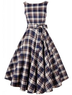 2 Color Round Neck Bowknot Plaid Skater-dress Skater Dresses from fashionmia.com