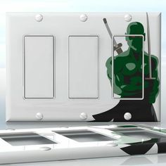 DIY Do It Yourself Home Decor - Easy to apply wall plate wraps | Green Demon Samurai  Green action character  wallplate skin sticker for 3 Gang Decora LightSwitch | On SALE now only $5.95