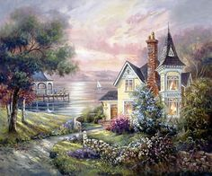 House by the Sea - Counted cross stitch pattern in PDF format