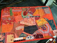 Indian Inspired Tapestry Red Hand Embroidered Patchwork Hippie Wall Hanging Gift Idea Mogul Interior http://www.amazon.com/dp/B00R0ZVVS8/ref=cm_sw_r_pi_dp_mDSJub1RHFVWE