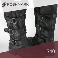 Roxy Moto Boots This is a pair of black Moto boots from Roxy! They hit mid calf and are lined with a black super soft shearling material! They have a few buckles down the side and a zipper closure up the inside. They have been worn a few times but have been kept in excellent condition! They keep your toes very warm and feel almost like slippers because they're so comfortable. They go perfectly with a dark skinny jean, ivory lace thermal, and colored [faux] leather jacket! Make me an offer…