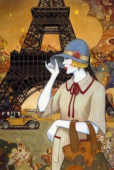 Helen Lam.  Paintings in the Art Deco style