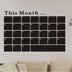 Nice!  A chalkboard wall calendar!    Month Blackboard Chalkboard PVC Wall Stickers – USD $ 16.99