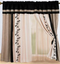 Luxury Black, Cream Beige with Floral Linen Window Curtain / Drape Set with Sheer Backing-treatment Draperies by Chezmoi Collection, Black Curtains, Floral Curtains, Linen Curtains, Curtain Fabric, Linen Comforter, Comforter Sets, Privacy Curtains, Window Curtains, Drapery Designs