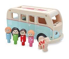 A retro camper van complete with wooden toy peg mum, dad, two children and a wooden dog. Made from durable rubber and ply wood with an attractive paint work finish, the camper van has a removable roof to allow easy access to the inside where the peg peopl Mobiles, Campervan Gifts, Volkswagen, Party Set, Retro Campers, Der Bus, How To Make Toys, Wooden Pegs, Second Child