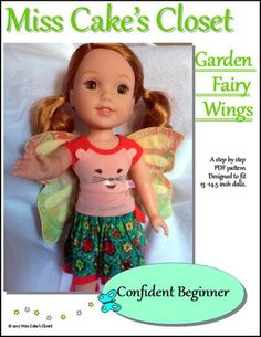 Miss Cake's Closet Garden Fairy Wings Doll Accessory Pattern 13-14.5 Inch Dolls   Pixie Faire