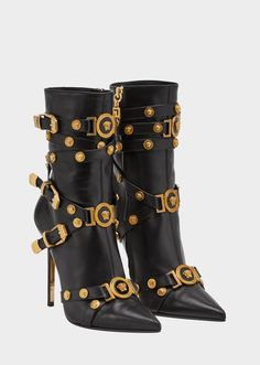 Versace High-heel Tribute Boots for Women Leather High Heel Boots, Heeled Boots, Bootie Boots, Shoe Boots, Calf Leather, Ankle Booties, Leather Sandals, Black Leather, Versace Boots