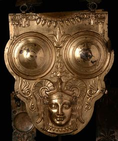 Carthagian Cuirass  date: 3rd-2nd century BC height: 42 cm material: gilded bronze found at: Ksour es Saf collection: Musée national du Bardo, Tunesia photo: Rijksmuseum van Oudheden
