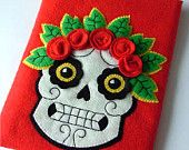 Red Felt iPad Case Tattoo Sugar Skull