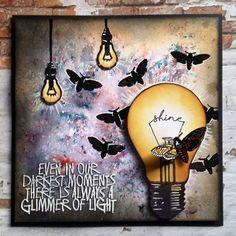 Visible Image - light bulb stamp - glimmer of light quote - moths - Teresa Morgan Doodle Art Journals, Art Journal Pages, Art Journaling, Journal Ideas, Junk Journal, Steampunk Cards, Light Bulb Art, Small Journal, Image Stamp