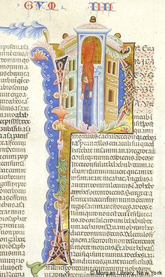 Ahaziah, King of Israel falling from window within initial P | Bible | Italy, Padua | ca. 1287-1300 | The Morgan Library & Museum