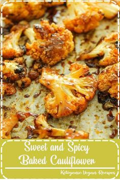 VEGAN Sweet and Spicy Roasted Cauliflower –– FAVORITE easy side dish. Toss everything in a bag, roast it, and you're done. I usually eat half of it off the sheet pan before dinner! Healthy Eating Recipes, Vegan Recipes Easy, Clean Eating Snacks, Keto Recipes, Cajun Recipes, Skillet Recipes, Fudge Recipes, Recipes Dinner, Appetizer Recipes