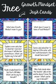 FREE Growth mindset task cards to help teach about perseverance, working through challenges, and grit.