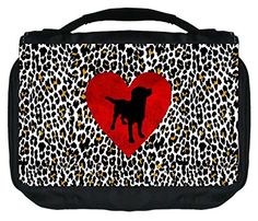 Puppy Silhouette on Red Heart and Leopard Print TM Small Travel Sized Hanging Cosmetic/Toiletry Case with 3 Compartments and Detachable Hanger-Made in the U.S.A. >>> Click on the image for additional details.