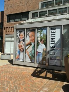 the windows of the united way of pioneer valley office in downtown springfield ma