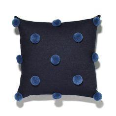 Pepper B Designs    Pom Pom Pillow Blue