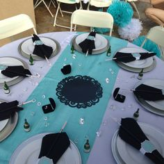 Breakfast at Tiffany's bridal shower table setting. Before flowers arrived.