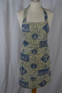 VINTAGE blue Classical design toile de jouy style full length cotton apron
