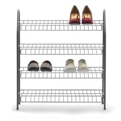 4-Tier Shoe Rack - Silver Look