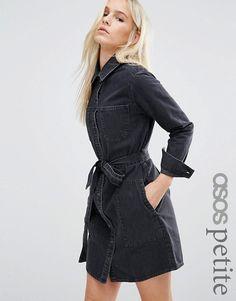 ASOS Petite | ASOS PETITE Denim Belted Shirt Dress in Washed Black