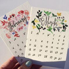 2018 calendar #calligraphy #handlettered #watercolor #calendar