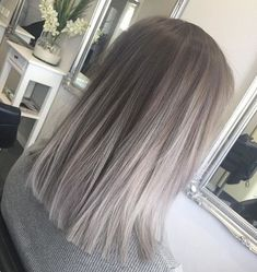 Blunt, Straight Lob Hair Cuts - Ombre, Balayage Hairstyles