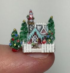OOAK Miniature Dollhouse Christmas Putz Handcrafted Glitter Cottage House Santa | eBay