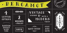 Bergamot was inspired by vintage apothecary labels, but this font is actually quite modern in both style and effects.