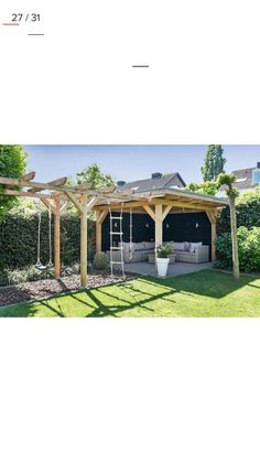 Beautiful covered garden seating area/ den and children's climbing frame Wunde., : Beautiful covered garden seating area/ den and children's climbing frame Wunde. Backyard Seating, Backyard Patio Designs, Backyard Ideas, Patio Ideas, Pergola Designs, Outdoor Seating, Backyard Playground, Outdoor Play, Outdoor Living