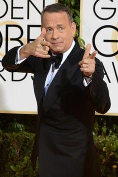 Tom Hanks wearing Tom Ford at event of The Golden Globes 2014 Forrest Gump, Tom Hanks Meme, White Toms, Adam Sandler, Robin Williams, Hollywood Actor, Red Carpet Fashion, Best Actor, Famous Faces