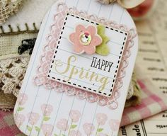 Happy Spring Tag by Melissa Phillips for Papertrey Ink (March 2014)