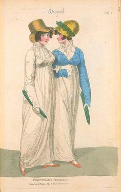 Promenade Dresses, August Fashions of London & Paris 1800s Fashion, 19th Century Fashion, Vintage Fashion, Regency Dress, Regency Era, Historical Costume, Historical Clothing, Jane Austen, Beach Costume