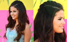 Kids' Choice Awards inspire-se nos penteados das famosas! Kids Choice Awards 2013, Kristen Stewart, Selena Gomez, Hairstyle, Children, Nails, Inspiration, Side Plait, Pimples