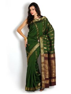 593dd38e2a0 Buy Urban Vastra Green   Maroon Embroidered Art Silk Traditional Saree - -  Apparel for Women