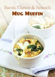 Bacon, Cheese and Spinach Mug Muffin Shared on http://www.facebook.com/LowCarbZen/