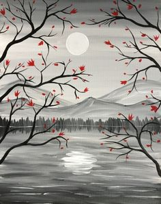 Red leaves on blach tree branch silhouette with sun and mountains. Paint Nite events near Orlando, FL, United States Shadow Painting, Easy Canvas Painting, Moon Painting, Easy Paintings, Painting & Drawing, Canvas Art, Drawing Trees, Painting Abstract, Landscape Pencil Drawings