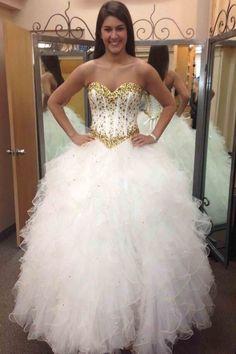 Beautiful gold beading white organza prom dress