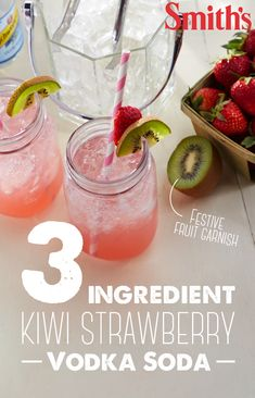 Vodka soda gets a summer makeover with this 5-minute cocktail. The secret ingredient – Snapple Kiwi Strawberry Juice Flavored Drink. Serve in jam jars and garnish with fresh kiwi slices and strawberries to add extra charm to this already delicious drink.