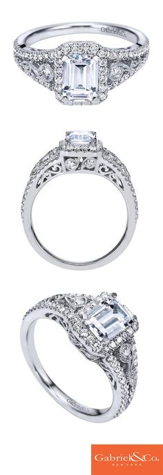 A classic 14k White Gold Diamond Halo Engagement Ring. Discover your perfect engagement ring at Gabriel & Co.