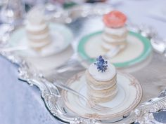 real bridal shower canopy vintage inspired downton abbey tea party alyson fox levine fox events dessert idea on fine china Tea Party Bridal Shower, Bridal Showers, Tea Sandwiches, Vintage China, Mini Cakes, Decoration, Beautiful Bride, Floral Arrangements, Real Weddings